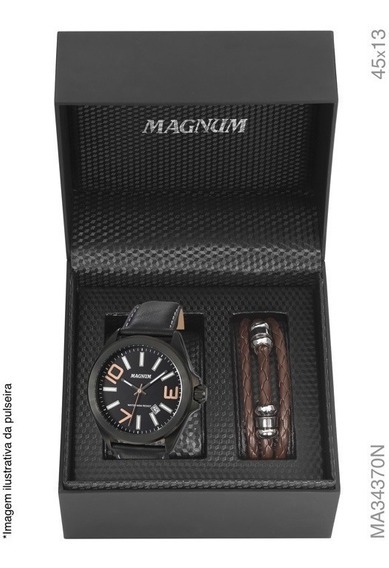 Relógio Magnum Kit Masculino Brinde Pulseira Couro Ma34370n