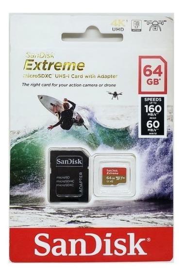Cartão Memoria Microsd 64gb Sandisk Extreme 4k 160mb/s