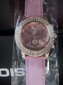 Relógio De Pulso Rosa Feminino Com Strass
