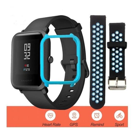 Relógio Android Bip Xiaomi Global + Pulseira + Bisel Azul