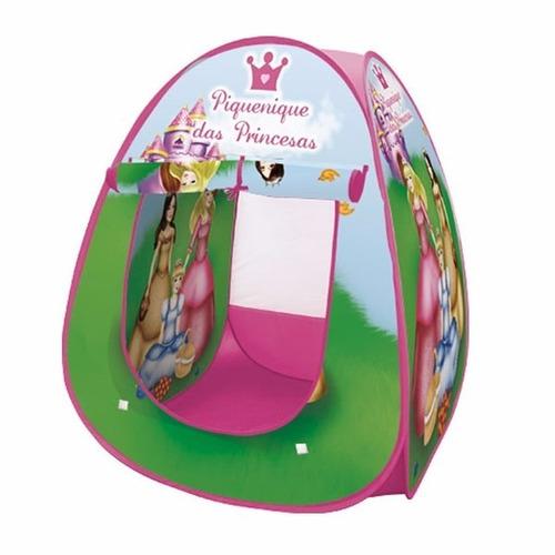 Imagem 1 de 2 de Barraca Infantil Dobrável Tenda Toca Cabana Princesa Rosa