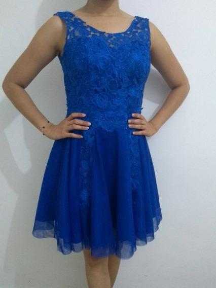 Vestido Azul Em Tule - Auston