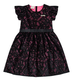 Vestido Tule Rendado E Cetim Infantil Quimby