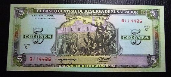 El Salvador Billete 5 Colones 1990 Unc Sin Circular Pick 138