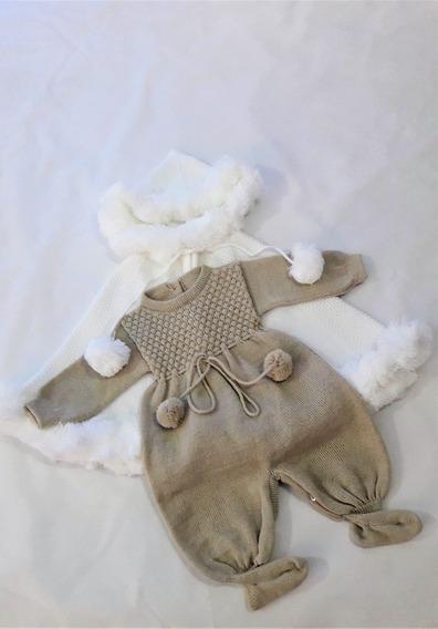 Capa Pompom E Macacão Bebê Menina Menino Batizado Ref. 212