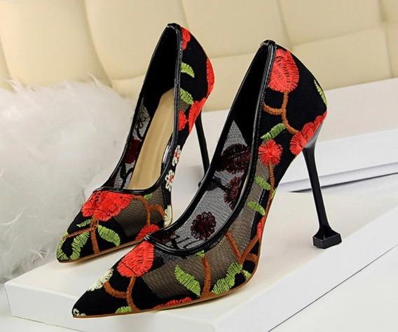 Scarpin Sapato Bordado Transparente Festa Casual Colorido