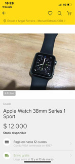 Apple Watch S1 38 Mm Color Negro Impecable 12.000$