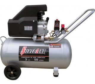 Compresor De Aire Lubricado 3hp 50lts 3h50l Silver