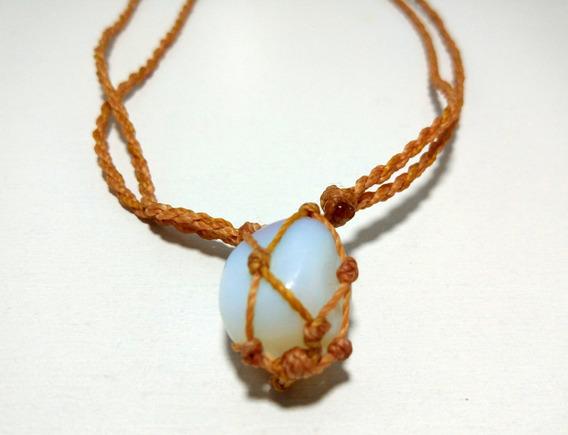 Colar Pedra Da Lua Opalina Fio Marrom Trançado Cordão Hippie