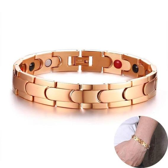 Pulseira Bracelete Masculina Banhada Ouro Aço Inox Titânio