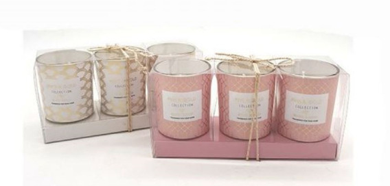 Set X 3 Velas Aromáticas Blanco/rosa En Caja De Regalo