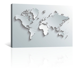Cuadro Decorativo Canvas Mapas En Tonos De Grises Metalico