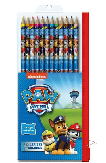 Paw Patrol Cartuchera Con Lapices De Colores X 12 Patrulla D