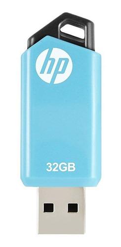 Pendrive Hp V150w 32gb 2.0 Celeste Flash Drive Retractil Pc