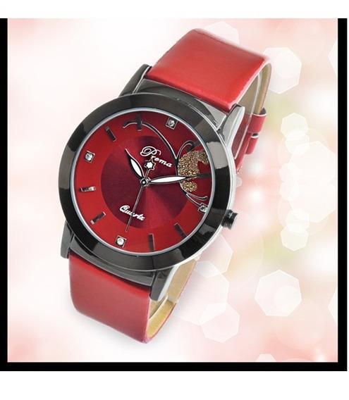 Relógios Feminino De Pulso Vermelho Pulseira Couro Sintético