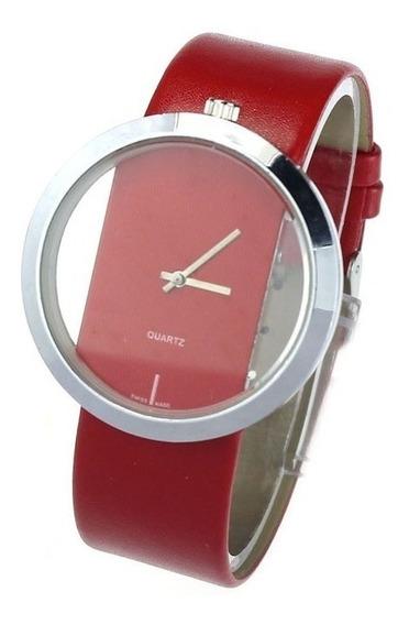 Relógio Feminino Transparente Vermelho Vidro Hardlex