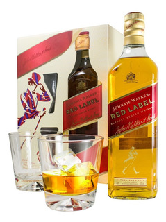 Whisky Johnnie Walker Red Rojo + 2 Vasos X 750 Estuche Sufin
