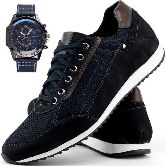 Tênis Sapatênis Casual Masculino Jogger + Relógio Original
