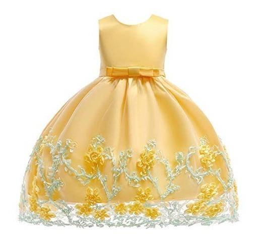 Vestido Niña 2 A 11 Años Fiesta Boda Graduacion Amarillo Sin