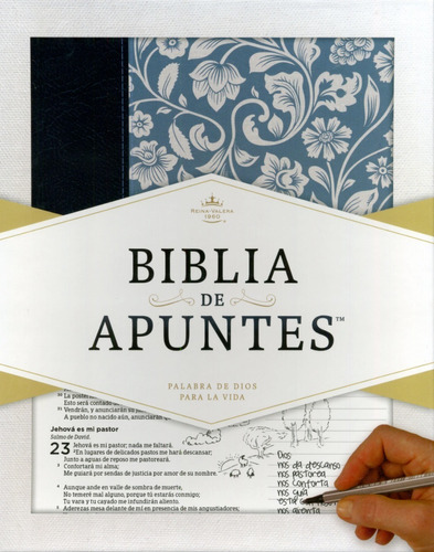 Imagen 1 de 6 de Biblia De Apuntes Color Azul Floreada Simil Piel Caja