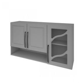 Armário De Cozinha 3 Portas Vidro Vazado 120cm Nora Iewt