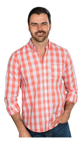 Camisas Hombre Cuadros Naranja Slim Fit Casuales Moda 90124