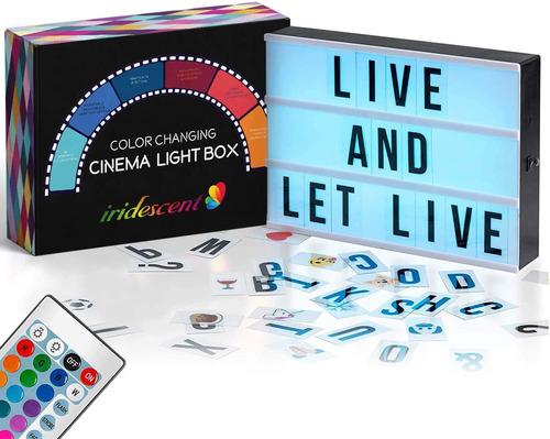 Caja De Luz De Cine Que Cambia De Color Con Letras, 244 Letr