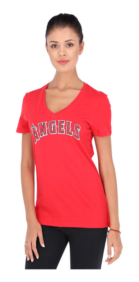 Playera Majestic Mlb Los Angeles Mike Trout Mujer Rojo