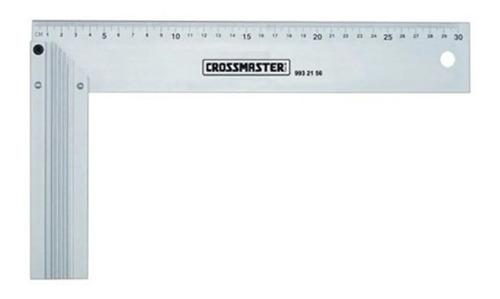 Imagen 1 de 3 de Escuadra Carpintero Regla Metal Aluminio 300mm Crossmaster