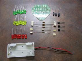 Pcb Formato Coração 18 Lâmpadas Led Piscando Kit Diy