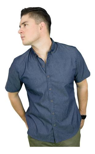 Camisa Manga Corta Mezclilla Slim Fit