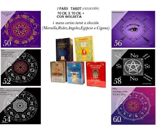 Imagen 1 de 9 de Pack Tarot Combo Paño Mazo Palo Santo Cuarzos