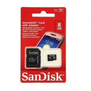 Tarjeta Memoria Sandisk Micro Sd Hc 8gb Clase4 + Adaptador En Cuotas