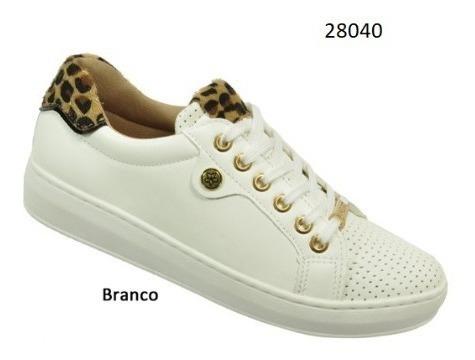 Tênis Via Euro Feminino Branco/onça Ref.28040