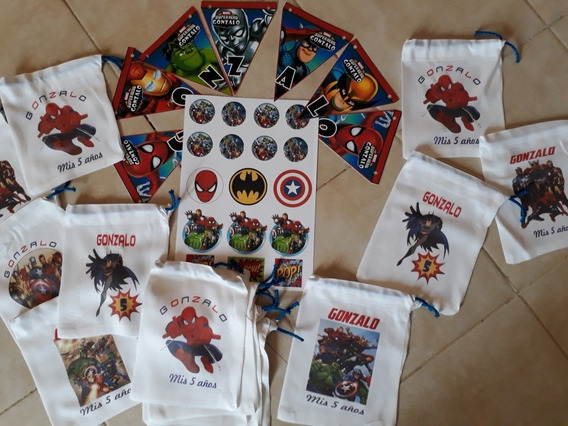 Bolsitas Banderin Stickers Super Heroes Cumpleaños