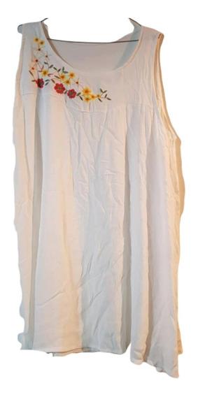 Musculosa -vestido Bambula Bordada Flores T 7