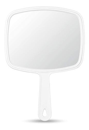 Imagen 1 de 2 de Espejo De Mano Omiro, Espejo De Mano Blanco Con Asa, 6.3  W