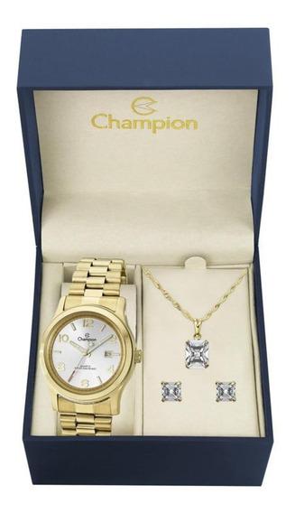 Kit Relógio Feminino Champion Com Colar E Brincos Ch24428e