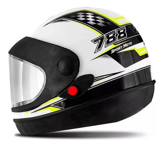 Capacete Super Sport Moto 788 Pro Tork Automático Branco