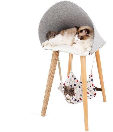 Cama Y Hamaca Para Gatos Con Rascador - Madera De Haya