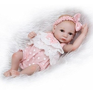 Muñeca Reborn Bebe Funny Moño Full Silicona De 26 Cms