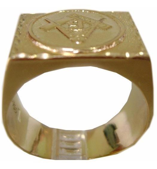 Anel De Ouro 18 K Retangular Maçonaria An 12