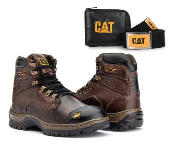 Bota Caterpillar Original+palmilha Em Gel+kit Carteira Cinto