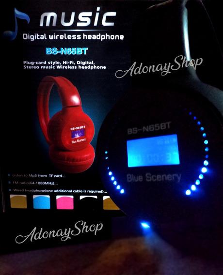 Audífonos Inalámbricos Luz Led Bluetoothpantalla Lcd Memoria
