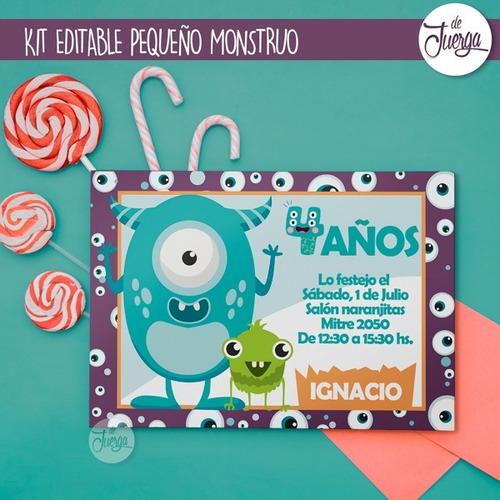 Kit Imprimible Pequeño Monstruo Nombre Editable Candy Cumple