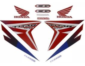 Kit Adesivo Jogo Faixas Moto Honda Titan 150 2015 Ex Branca