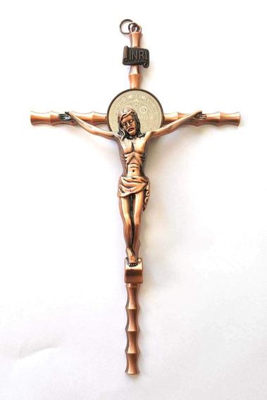 Crucifixo Bambu São Bento Medalha 24cm Bronze Fr