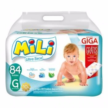 Kit Fralda Mili Ultra Seca Giga G 4 Pacotes 336 Fraldas