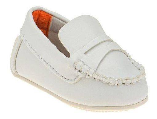 Mocassim Infantil Masculino Branco Sapato Batizado Menino