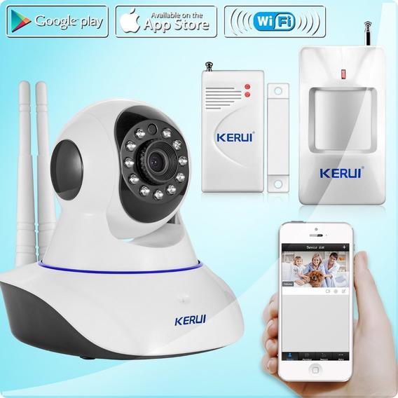Câmera Ip Central De Alarme Sem Fio Sensores Wifi Hd Sd App.